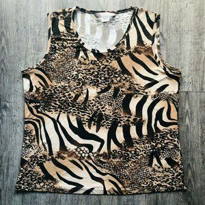 VTG TanJay Petites Beige Brown Animal Print Tank